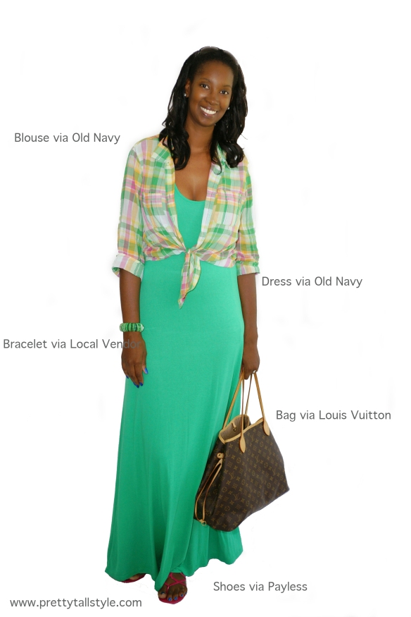 """old navy green racerback maxi dress and plaid button up"