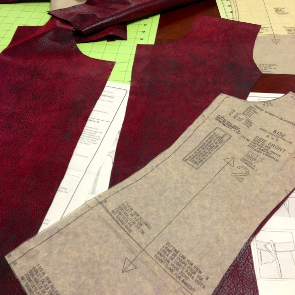 Getting to work: All of the fabric pieces cut out from the pattern.